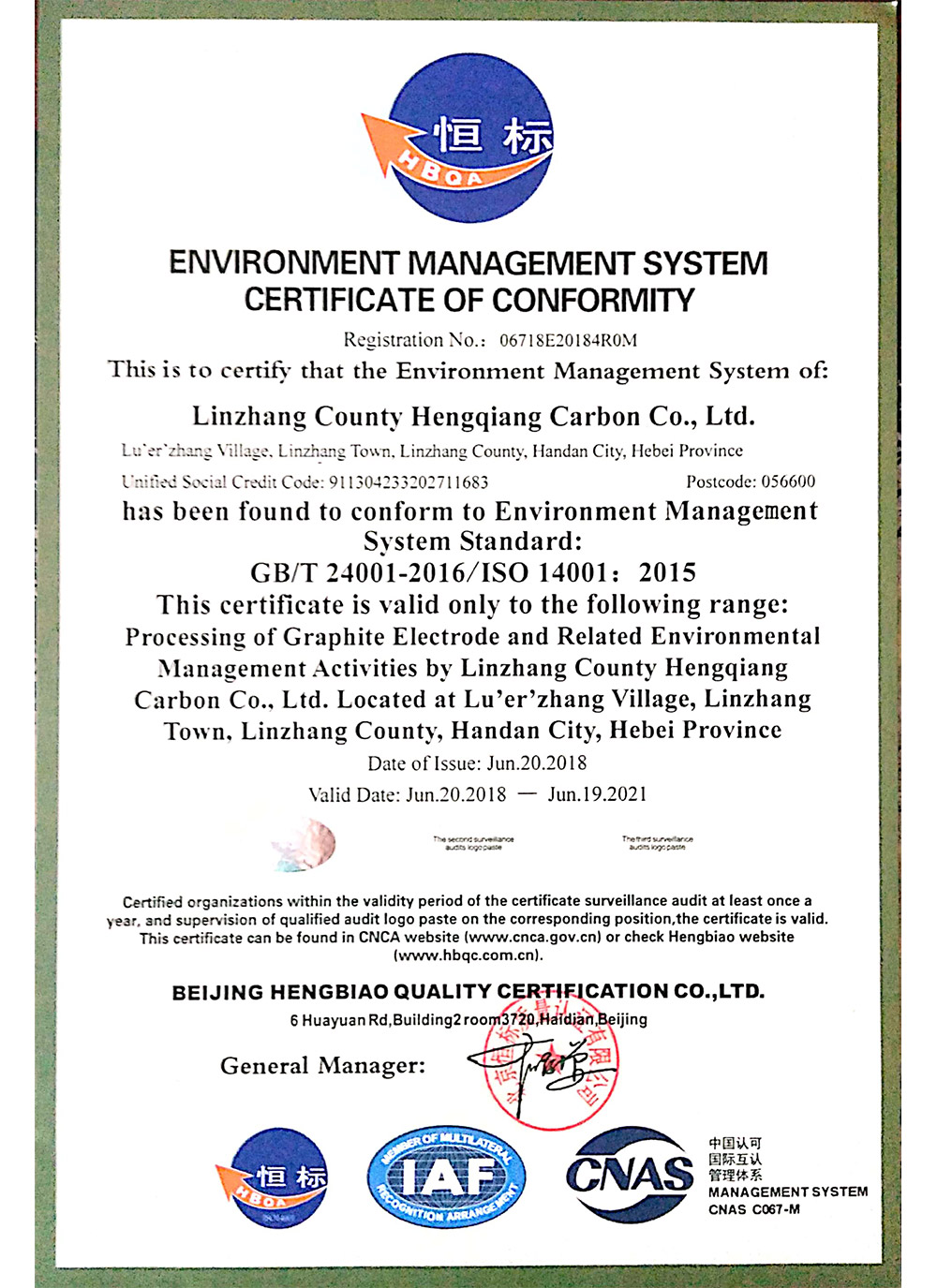 Environment Management System Certificate Of Conformity